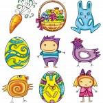 Easter doodles design elements (series) — Stock Vector