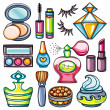 Vector make up, beauty and fashion supplies icons — Stock Vector