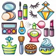 Vector make up, beauty and fashion supplies icons — Stock Vector #9723173
