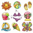 Set of 9 summer and beach icons - Stock Vector