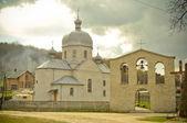 Exterior of a Greek-Catholic church in Ukrainian mountains — Stock Photo