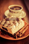 Tiramisu and coffee — Stock Photo