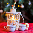 Christmas coffee with cookie canes — Foto de Stock