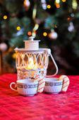 Kerstmis koffie met cookie stokken — Stockfoto
