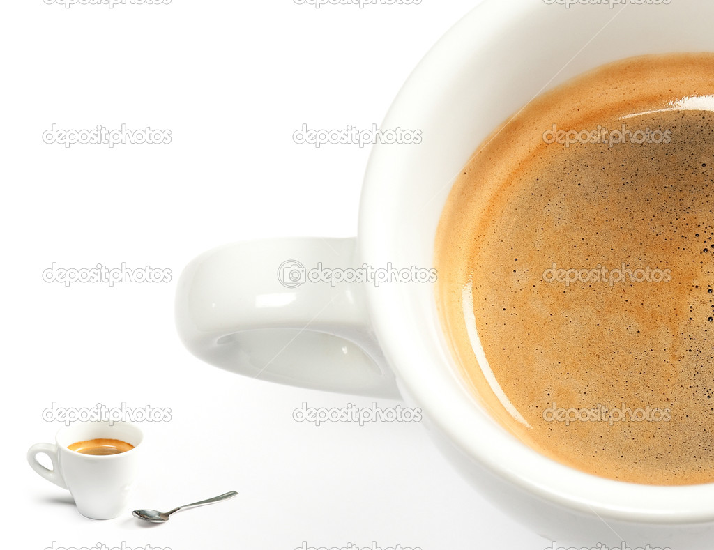 Espresso coffee in a white cup with spoon on white background — Stock Photo #9173807