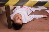 Crime scene simulation. Nurse lying on the floor — ストック写真