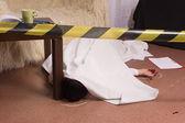 Crime scene simulation. Victim lying on the floor — Stock Photo
