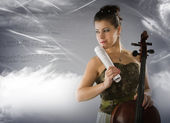 Woman with cello on a space background — Stock Photo