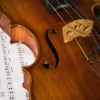 Close-up picture of the old violin witn score - Stock Photo