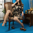 Lady in a blue colors boudoir - Foto de Stock