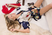 Sexual pretty girl lying on the floor — Stock Photo