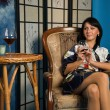 Beautiful woman with a wine glass - Stock fotografie
