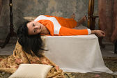 Crime scene simulation. Victim lying on the bed — Stock Photo