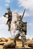 Medieval knights - crusaders with a sword. Unauthorized homemade — Stock Photo
