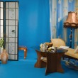 Boudoir interior in the blue colors — Stock Photo
