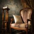 lussuosi interni d'epoca con poltrona — Foto Stock