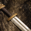 Still life with scandinavian sword on a fur — Stock Photo