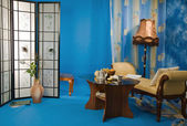 Boudoir interior in the blue colors — 图库照片