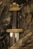 Scandinavian sword on a fur — Stock Photo