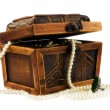 Stock Photo: Wooden jewellery box packed with necklace