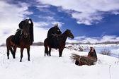 Cavaliere ospitaliere chiesto indicazioni dal contadino — Foto Stock