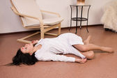 Killed nurse lying on the floor — Stock Photo