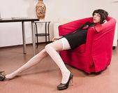 Crime scene simulation: businesswoman in a office — Stock Photo