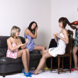 Girls gather at a party — Stock Photo