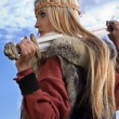 Stock Photo: Viking girl warrior