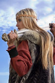 Viking girl warrior — Stock Photo