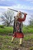 バイキングの少女戦士 — ストック写真