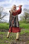 Viking girl warrior — Stock Photo