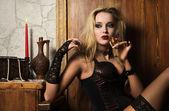Sexy woman vamp — Stock Photo