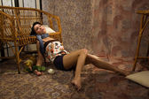 Crime scene. Victim lying on the floor — Stock Photo