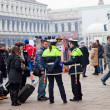 Police officers securing Piazza San Marco in Venice after New Ye - Stock Photo