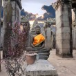 Buddha sitting in ancient temple Prasat Bayon — Stock Photo