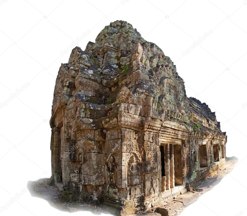 Ancient temple in Angkor complex, isolated on white background, Siem Reap, Cambodia — Stock Photo #9089499