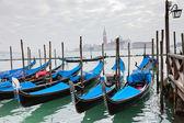 Gondoler med blå kåpa i Venedig — Stockfoto