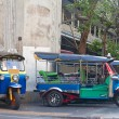 Line of tuktuks on Bangkok street — Stock Photo