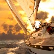 Stock Photo: Sailboat crop during regatta