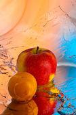 Apple and plum — Stock Photo
