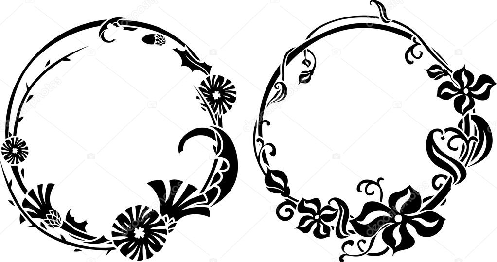 Two black wreath in art nouveau style — Stock Vector #10024635