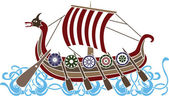 Ancient vikings ship — Stock Vector