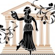 Greek woman with amphora — Vector de stock