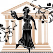 Greek woman with amphora - Stock Vector