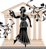 Greek woman with amphora — Stock Vector