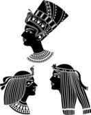 Ancient egypt women profiles set stencil — Stock Vector