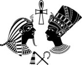 Ancient egypt king and queen — Stock Vector