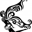 Beautiful flying fairy stencil — Vector de stock #8003712