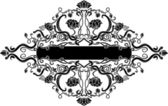 Black filigree floral banner — Stock Vector